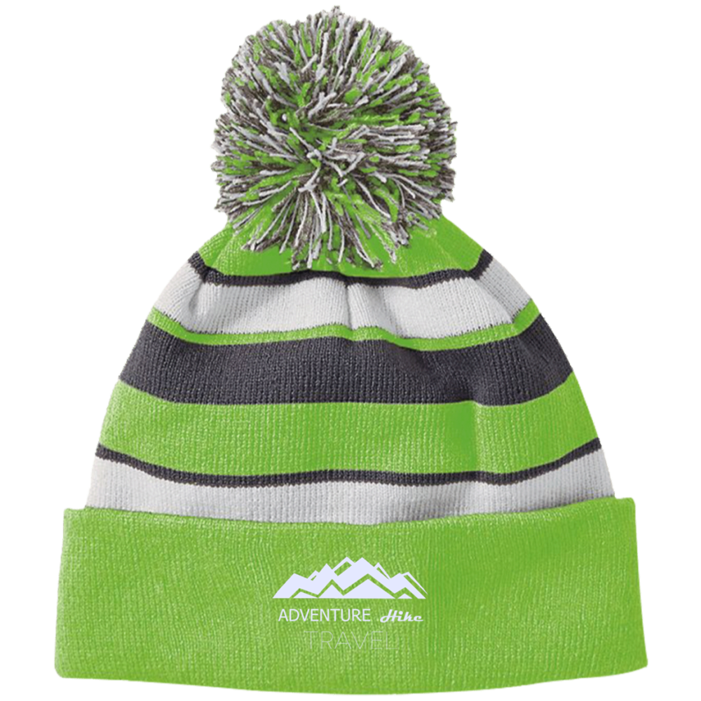 Adventure Hike Travel lime green Striped Beanie with Pom. Outdoor Beanies  for Hiking 15eb1cad31a