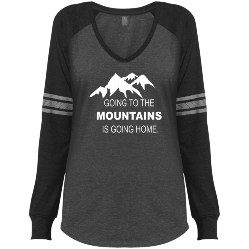 e25106e53 Going to the Mountains Is Going Home Women's Long Sleeved V-Neck T-Shirt